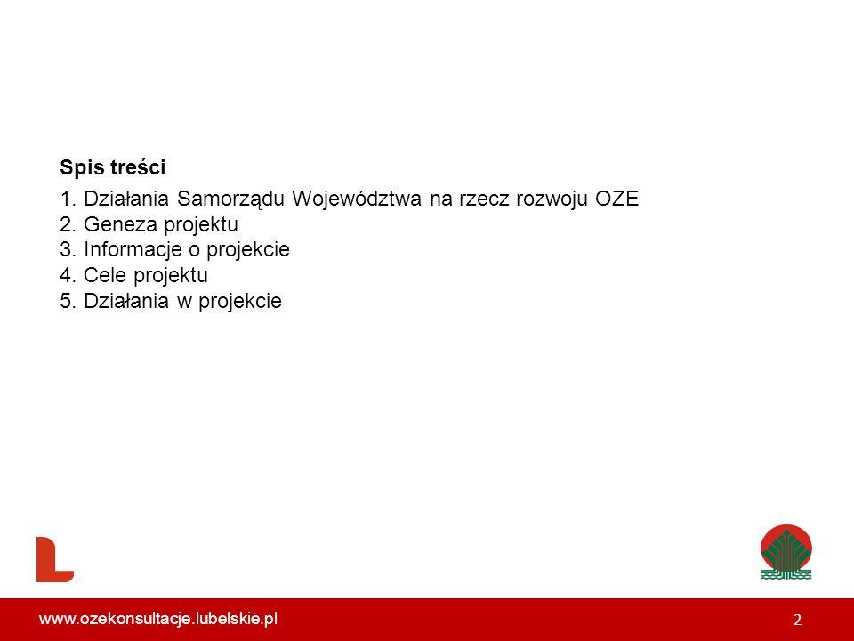Spis treści 1.Działania Samorządu Województwa na rzecz rozwoju OZE 2.
