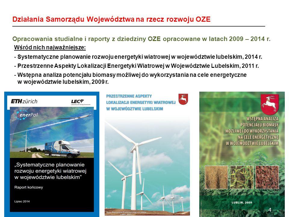 Wśród nich najważniejsze: -Systematyczne planowanie rozwoju energetyki wiatrowej w województwie lubelskim, 2014 r.