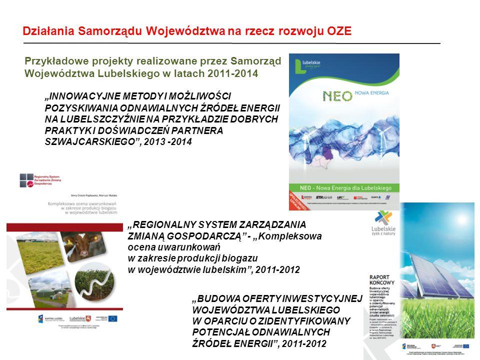 """Przykładowe projekty realizowane przez Samorząd Województwa Lubelskiego w latach 2011-2014 """" INNOWACYJNE METODY I MOŻLIWOŚCI POZYSKIWANIA ODNAWIALNYCH ŹRÓDEŁ ENERGII NA LUBELSZCZYŹNIE NA PRZYKŁADZIE DOBRYCH PRAKTYK I DOŚWIADCZEŃ PARTNERA SZWAJCARSKIEGO , 2013 -2014 """"BUDOWA OFERTY INWESTYCYJNEJ WOJEWÓDZTWA LUBELSKIEGO W OPARCIU O ZIDENTYFIKOWANY POTENCJAŁ ODNAWIALNYCH ŹRÓDEŁ ENERGII , 2011-2012 """"REGIONALNY SYSTEM ZARZĄDZANIA ZMIANĄ GOSPODARCZĄ - """"Kompleksowa ocena uwarunkowań w zakresie produkcji biogazu w województwie lubelskim , 2011-2012 Działania Samorządu Województwa na rzecz rozwoju OZE"""