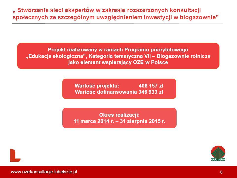 """"""" Stworzenie sieci ekspertów w zakresie rozszerzonych konsultacji społecznych ze szczególnym uwzględnieniem inwestycji w biogazownie Projekt realizowany w ramach Programu priorytetowego """"Edukacja ekologiczna , Kategoria tematyczna VII – Biogazownie rolnicze jako element wspierający OZE w Polsce Wartość projektu: 408 157 zł Wartość dofinansowania 346 933 zł Okres realizacji: 11 marca 2014 r."""