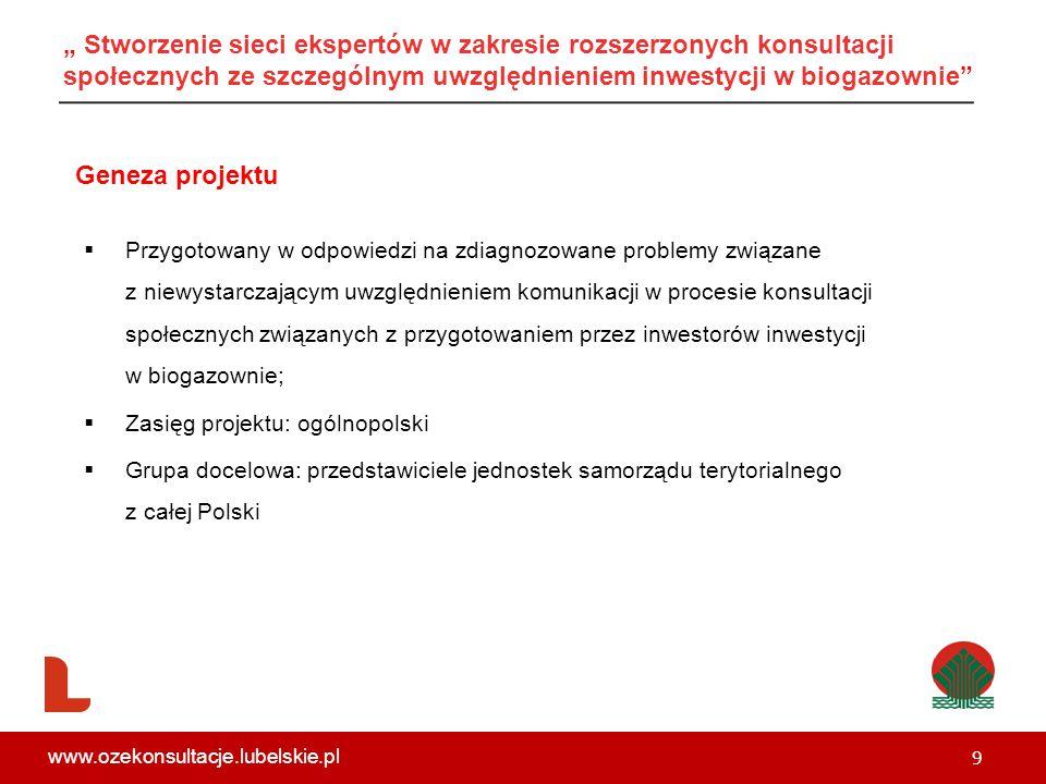 """ Przygotowany w odpowiedzi na zdiagnozowane problemy związane z niewystarczającym uwzględnieniem komunikacji w procesie konsultacji społecznych związanych z przygotowaniem przez inwestorów inwestycji w biogazownie;  Zasięg projektu: ogólnopolski  Grupa docelowa: przedstawiciele jednostek samorządu terytorialnego z całej Polski Geneza projektu 9 www.ozekonsultacje.lubelskie.pl """" Stworzenie sieci ekspertów w zakresie rozszerzonych konsultacji społecznych ze szczególnym uwzględnieniem inwestycji w biogazownie"""