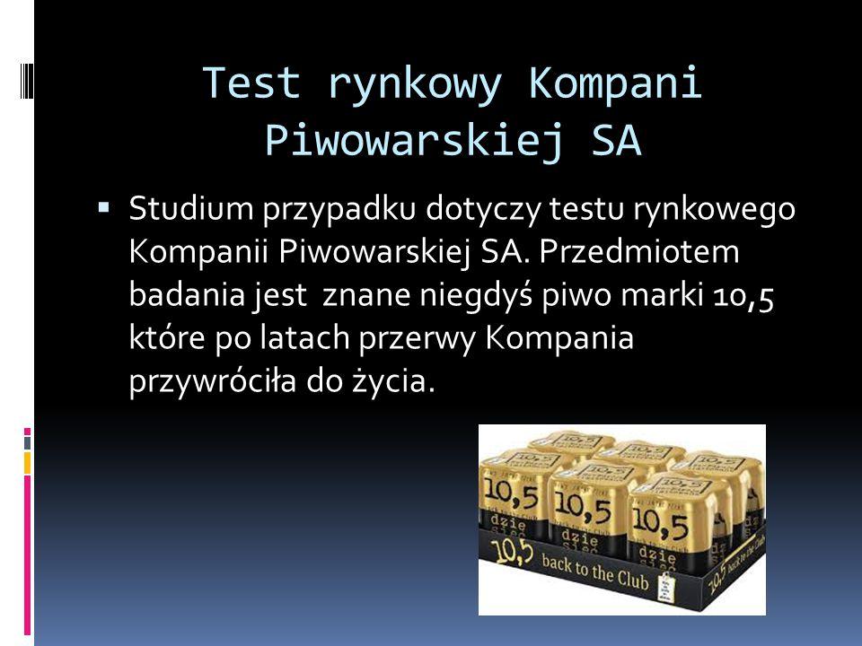 Test rynkowy Kompani Piwowarskiej SA  Studium przypadku dotyczy testu rynkowego Kompanii Piwowarskiej SA. Przedmiotem badania jest znane niegdyś piwo