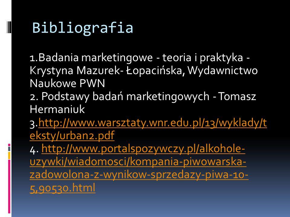Bibliografia 1.Badania marketingowe - teoria i praktyka - Krystyna Mazurek- Łopacińska, Wydawnictwo Naukowe PWN 2. Podstawy badań marketingowych - Tom