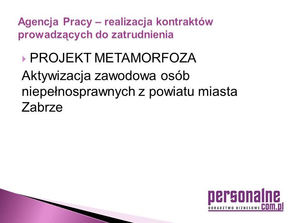  PROJEKT METAMORFOZA Aktywizacja zawodowa osób niepełnosprawnych z powiatu miasta Zabrze