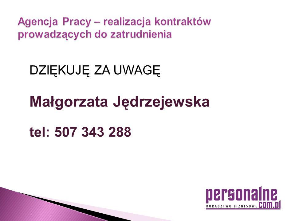 DZIĘKUJĘ ZA UWAGĘ Małgorzata Jędrzejewska tel: 507 343 288