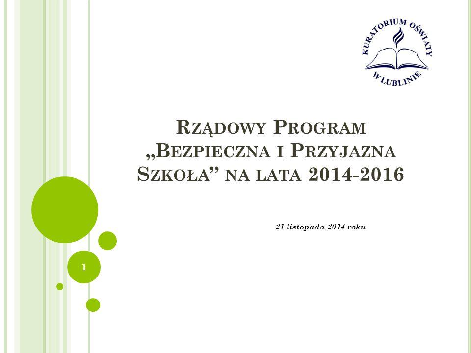 """R ZĄDOWY P ROGRAM """"B EZPIECZNA I P RZYJAZNA S ZKOŁA NA LATA 2014-2016 21 listopada 2014 roku 1"""
