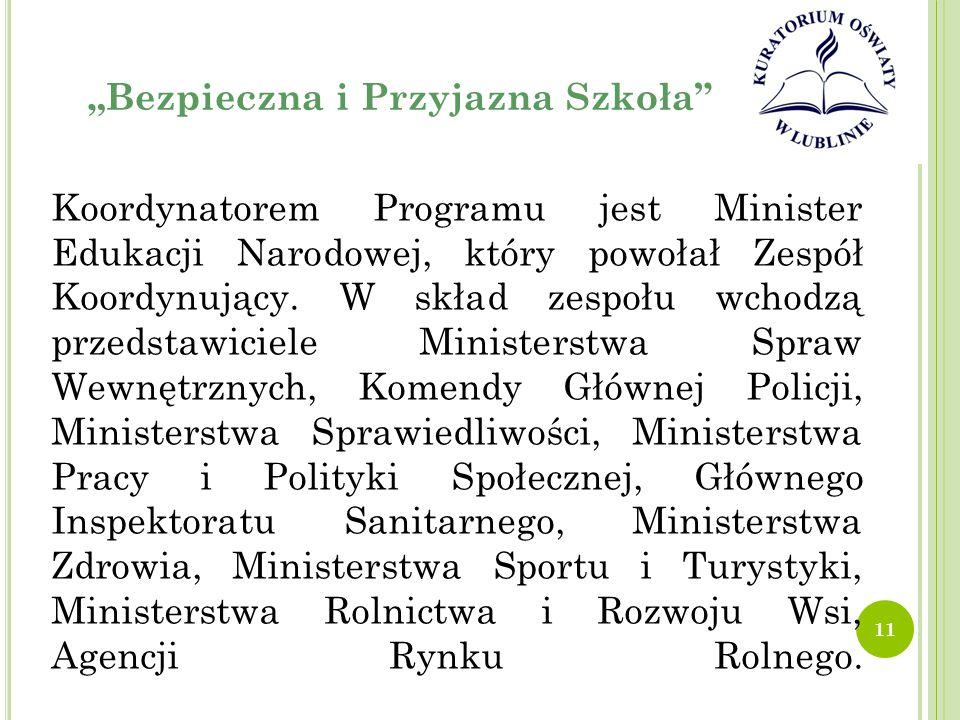 """""""Bezpieczna i Przyjazna Szkoła Koordynatorem Programu jest Minister Edukacji Narodowej, który powołał Zespół Koordynujący."""