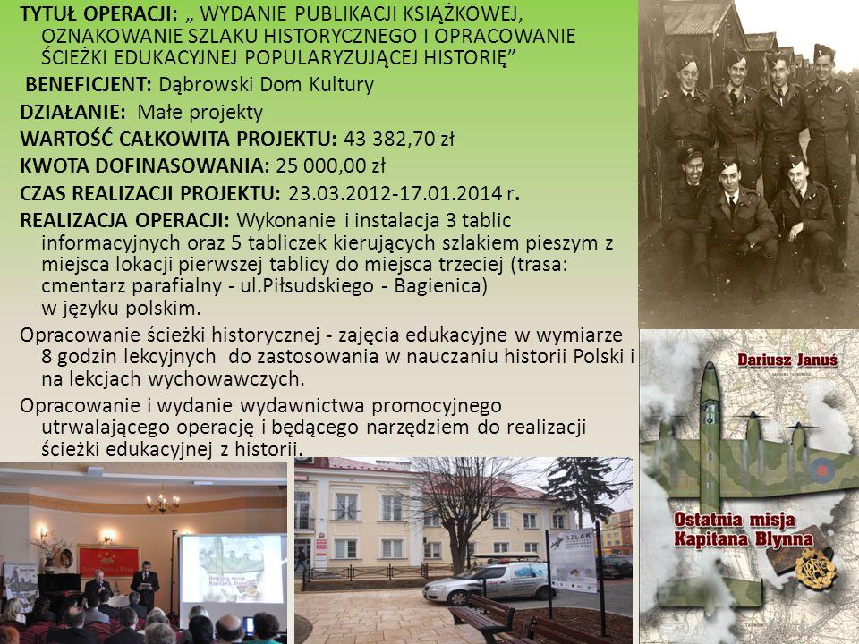 """TYTUŁ OPERACJI: """"Budowa centrum kulturalno-społecznego wsi Laskówka Chorąska wraz z zagospodarowaniem terenu BENEFICJENT: Gmina Dąbrowa Tarnowska DZIAŁANIE: Odnowa i rozwój wsi WARTOŚĆ CAŁKOWITA PROJEKTU: 1 046 519,96 zł KWOTA DOFINASOWANIA: 499 999,00 zł CZAS REALIZACJI PROJEKTU: 22.05.2012-30.07.2014r."""