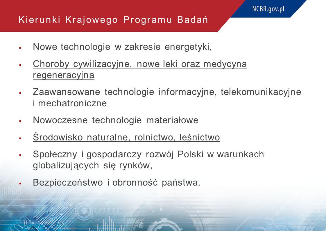 Kierunki Krajowego Programu Badań  Nowe technologie w zakresie energetyki,  Choroby cywilizacyjne, nowe leki oraz medycyna regeneracyjna  Zaawansow
