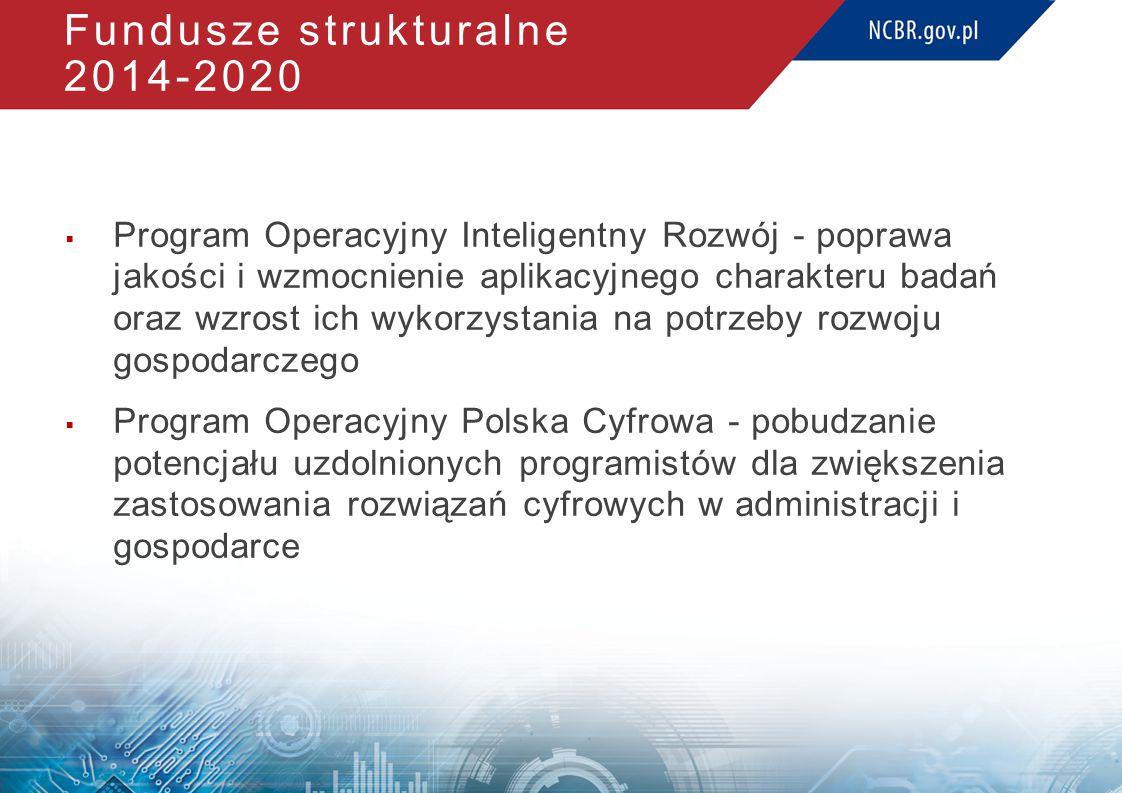 Fundusze strukturalne 2014-2020  Program Operacyjny Inteligentny Rozwój - poprawa jakości i wzmocnienie aplikacyjnego charakteru badań oraz wzrost ich wykorzystania na potrzeby rozwoju gospodarczego  Program Operacyjny Polska Cyfrowa - pobudzanie potencjału uzdolnionych programistów dla zwiększenia zastosowania rozwiązań cyfrowych w administracji i gospodarce