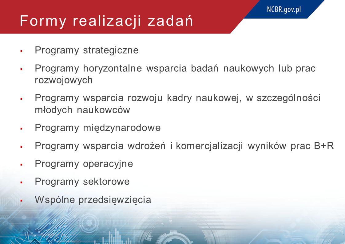 Formy realizacji zadań  Programy strategiczne  Programy horyzontalne wsparcia badań naukowych lub prac rozwojowych  Programy wsparcia rozwoju kadry