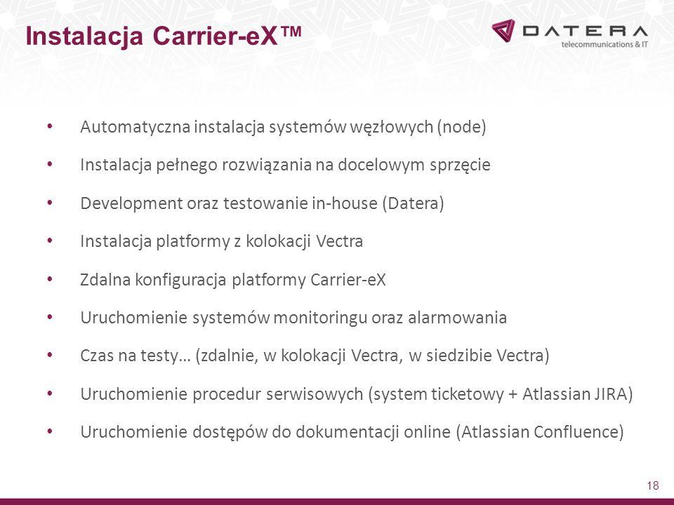 Automatyczna instalacja systemów węzłowych (node) Instalacja pełnego rozwiązania na docelowym sprzęcie Development oraz testowanie in-house (Datera) Instalacja platformy z kolokacji Vectra Zdalna konfiguracja platformy Carrier-eX Uruchomienie systemów monitoringu oraz alarmowania Czas na testy… (zdalnie, w kolokacji Vectra, w siedzibie Vectra) Uruchomienie procedur serwisowych (system ticketowy + Atlassian JIRA) Uruchomienie dostępów do dokumentacji online (Atlassian Confluence) Instalacja Carrier-eX™ 18
