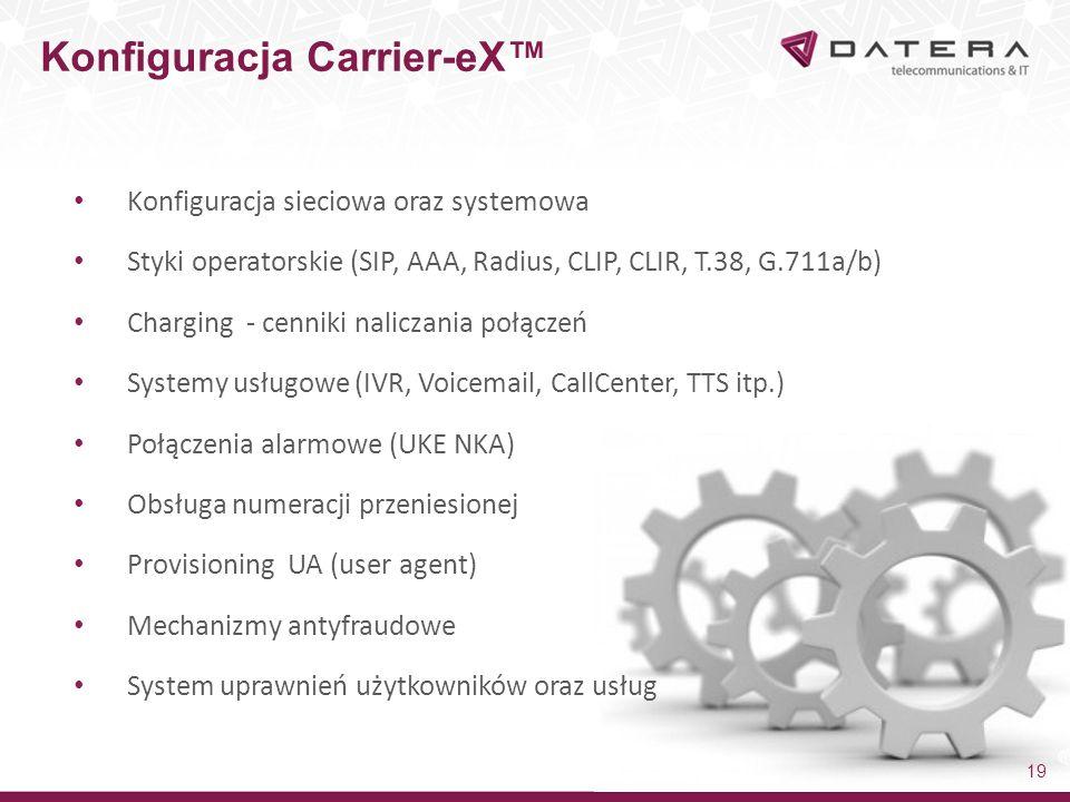 Konfiguracja sieciowa oraz systemowa Styki operatorskie (SIP, AAA, Radius, CLIP, CLIR, T.38, G.711a/b) Charging - cenniki naliczania połączeń Systemy usługowe (IVR, Voicemail, CallCenter, TTS itp.) Połączenia alarmowe (UKE NKA) Obsługa numeracji przeniesionej Provisioning UA (user agent) Mechanizmy antyfraudowe System uprawnień użytkowników oraz usług Konfiguracja Carrier-eX™ 19