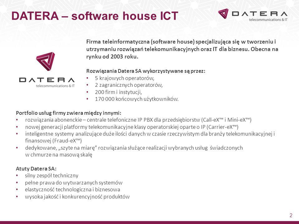 DATERA – software house ICT 2 Firma teleinformatyczna (software house) specjalizująca się w tworzeniu i utrzymaniu rozwiązań telekomunikacyjnych oraz IT dla biznesu.