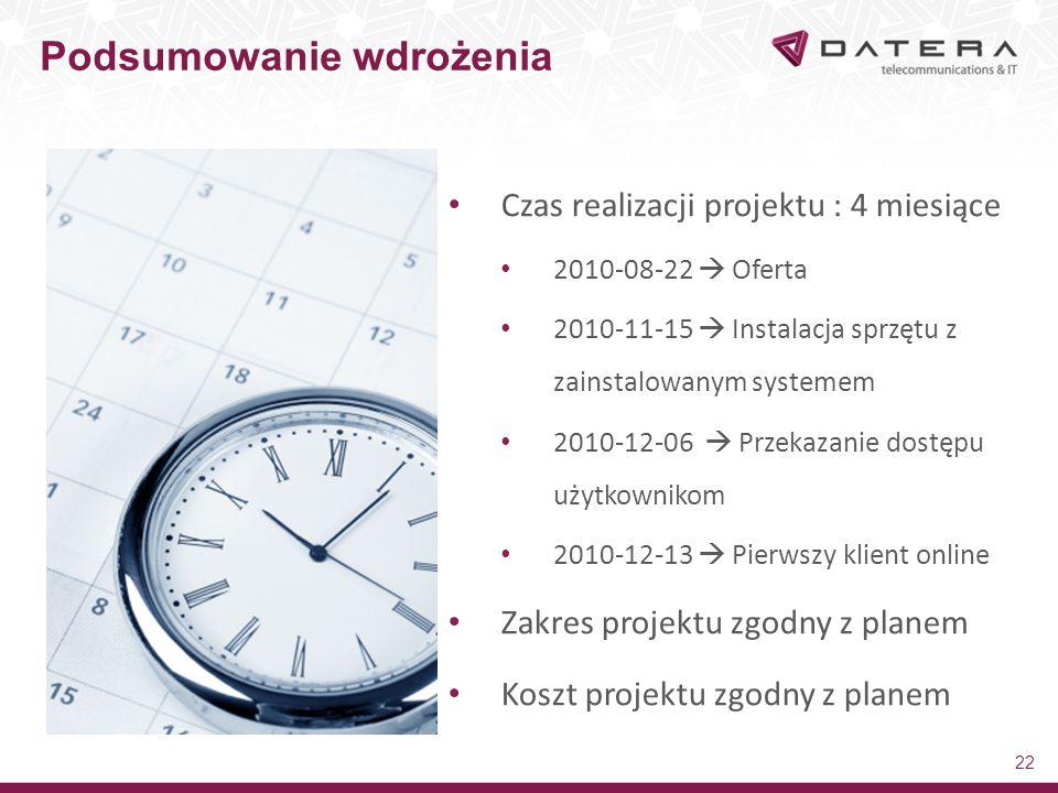 Podsumowanie wdrożenia 22 Czas realizacji projektu : 4 miesiące 2010-08-22  Oferta 2010-11-15  Instalacja sprzętu z zainstalowanym systemem 2010-12-