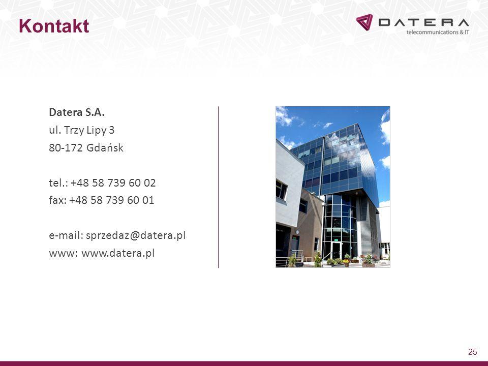 Datera S.A. ul. Trzy Lipy 3 80-172 Gdańsk tel.: +48 58 739 60 02 fax: +48 58 739 60 01 e-mail: sprzedaz@datera.pl www: www.datera.pl 25 Kontakt
