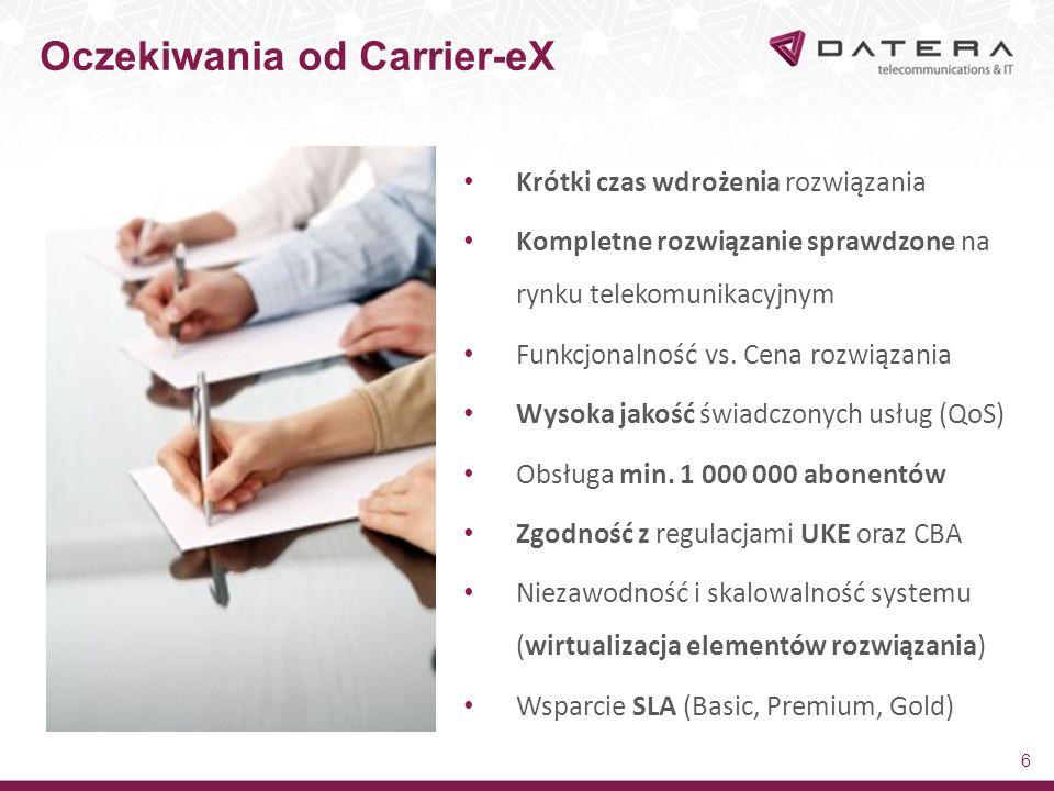 Oczekiwania od Carrier-eX 7 Wsparcie dla urządzeń kablowych oraz urządzeń IP Zaawansowana usługa Fax Server (Web2Fax, Print2Fax,Mail2Fax) Dostępność usług dodanych typu: V-IVR, Call Recording, Call Center, Conference Center, FlashPhone Wsparcie TTS (synteza mowy) i Click2Record Panel self-care (GUI) dla usług i użytkowników (user-experience) Wbudowane silne mechanizmy antyfraudowe (real-time billing online) Narzędzia do monitorowania i zarządzania systemem SOAP API do pełnej funkcjonalności  możliwości integracji w przyszłości Pełna obsługa SIP-Trunk, kompatybilność z centralami IP PBX