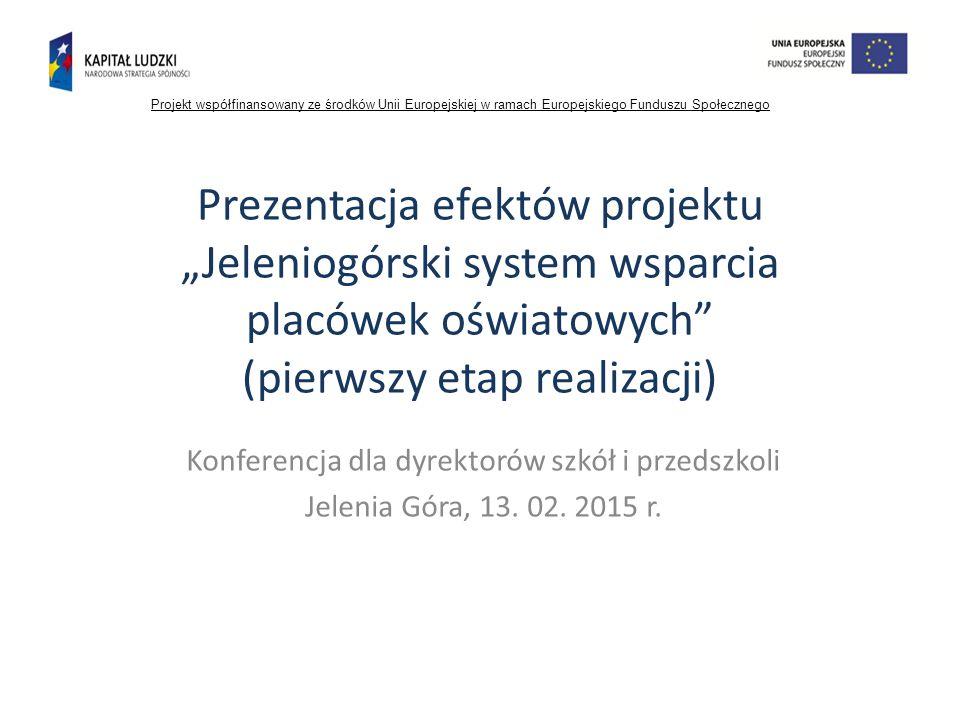 """Prezentacja efektów projektu """"Jeleniogórski system wsparcia placówek oświatowych (pierwszy etap realizacji) Konferencja dla dyrektorów szkół i przedszkoli Jelenia Góra, 13."""