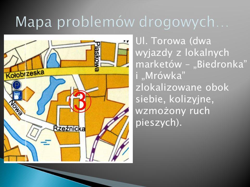 Wylot drogi z Trzebiatowa do Kołobrzegu (duże natężenie ruchu, zwierzyna, brak ścieżek rowerowych, nieoznakowani rowerzyści – mieszkańcy okolicznych wiosek).