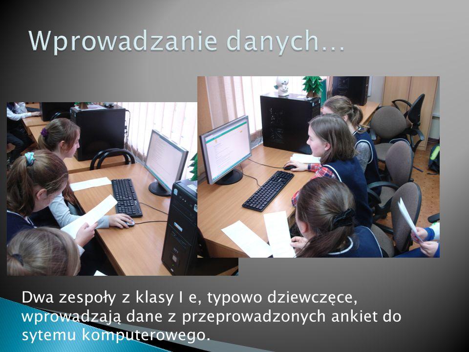 Dwa zespoły z klasy I e, typowo dziewczęce, wprowadzają dane z przeprowadzonych ankiet do sytemu komputerowego.