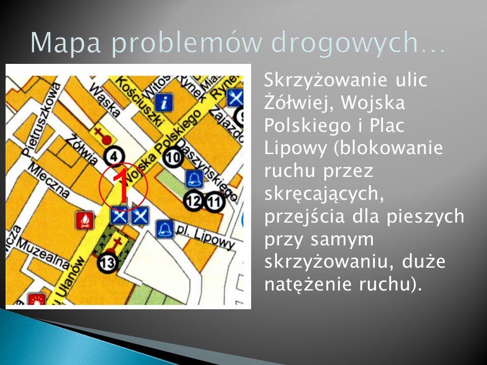 Skrzyżowanie ulic Żółwiej, Wojska Polskiego i Plac Lipowy (blokowanie ruchu przez skręcających, przejścia dla pieszych przy samym skrzyżowaniu, duże natężenie ruchu).