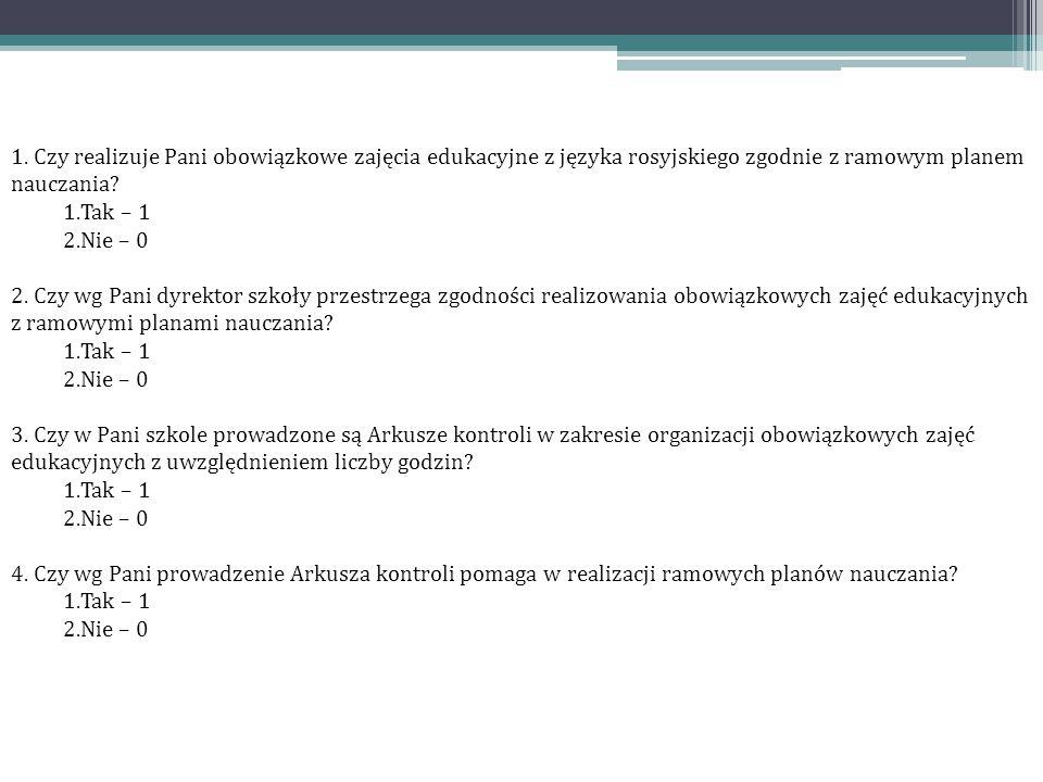 1. Czy realizuje Pani obowiązkowe zajęcia edukacyjne z języka rosyjskiego zgodnie z ramowym planem nauczania? 1.Tak – 1 2.Nie – 0 2. Czy wg Pani dyrek