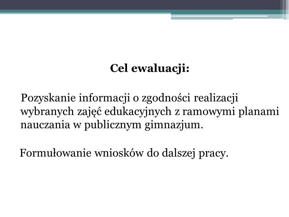 Cel ewaluacji: Pozyskanie informacji o zgodności realizacji wybranych zajęć edukacyjnych z ramowymi planami nauczania w publicznym gimnazjum.