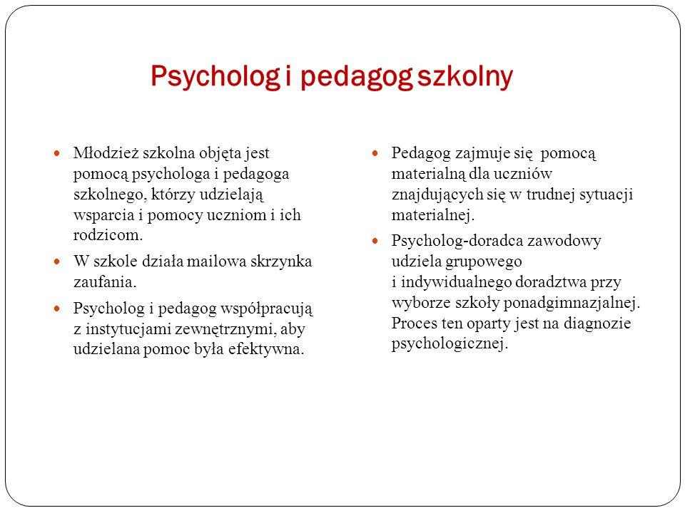 Psycholog i pedagog szkolny Młodzież szkolna objęta jest pomocą psychologa i pedagoga szkolnego, którzy udzielają wsparcia i pomocy uczniom i ich rodz