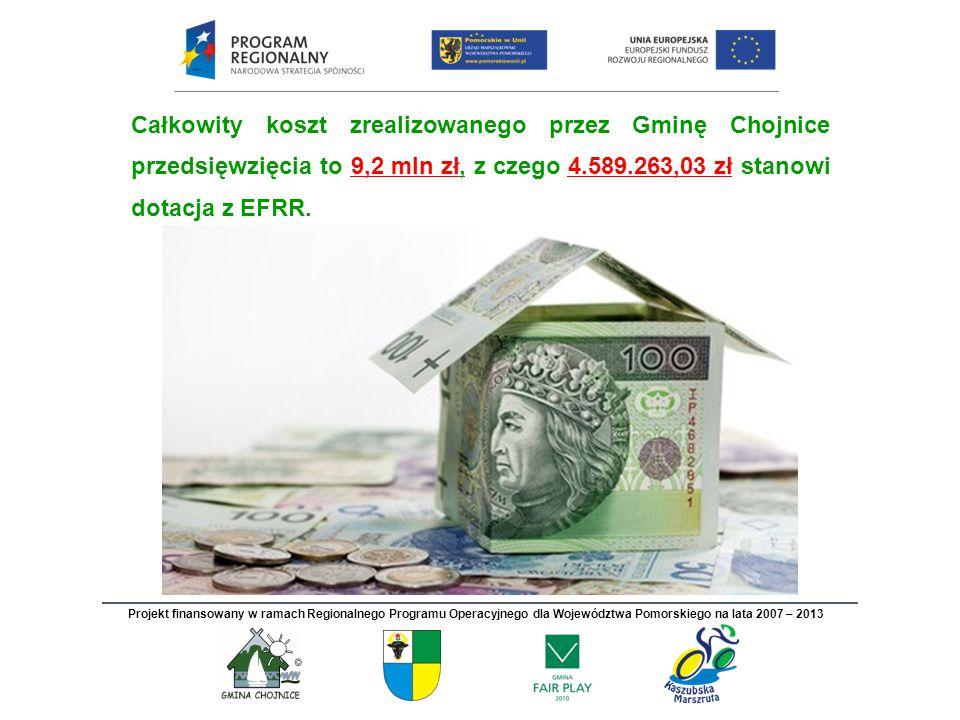 Całkowity koszt zrealizowanego przez Gminę Chojnice przedsięwzięcia to 9,2 mln zł, z czego 4.589.263,03 zł stanowi dotacja z EFRR. Projekt finansowany
