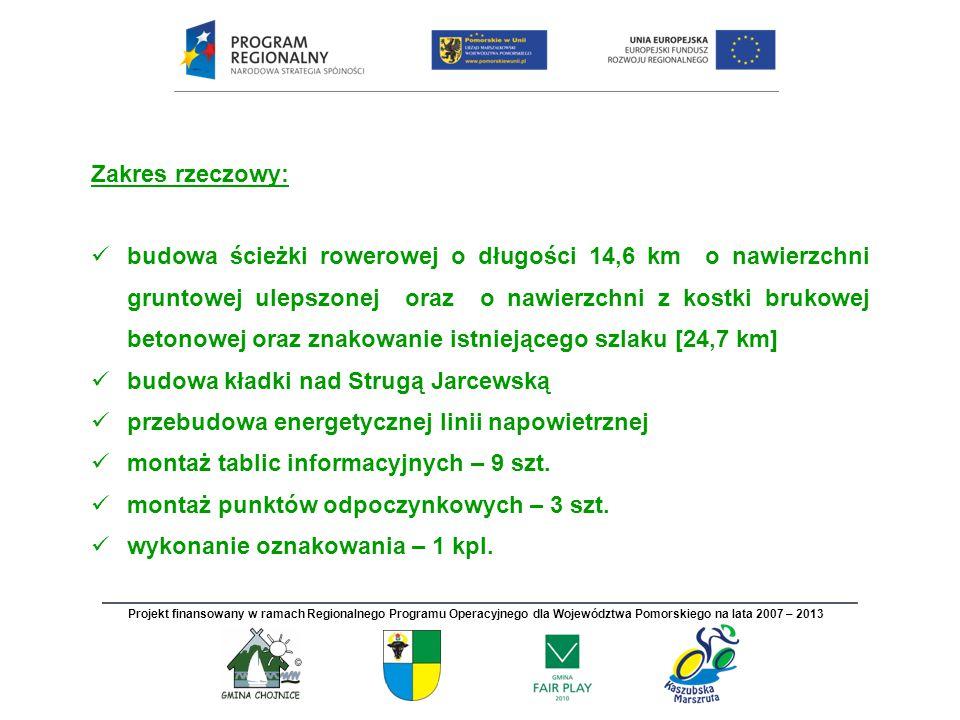Zakres rzeczowy: budowa ścieżki rowerowej o długości 14,6 km o nawierzchni gruntowej ulepszonej oraz o nawierzchni z kostki brukowej betonowej oraz zn