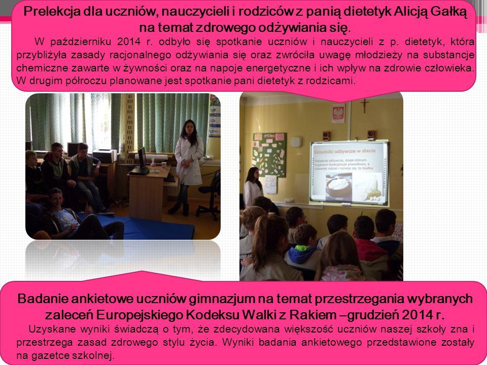 11 Prelekcja dla uczniów, nauczycieli i rodziców z panią dietetyk Alicją Gałką na temat zdrowego odżywiania się.