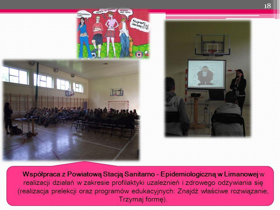 18 Współpraca z Powiatową Stacją Sanitarno - Epidemiologiczną w Limanowej w realizacji działań w zakresie profilaktyki uzależnień i zdrowego odżywiania się (realizacja prelekcji oraz programów edukacyjnych: Znajdź właściwe rozwiązanie, Trzymaj formę).