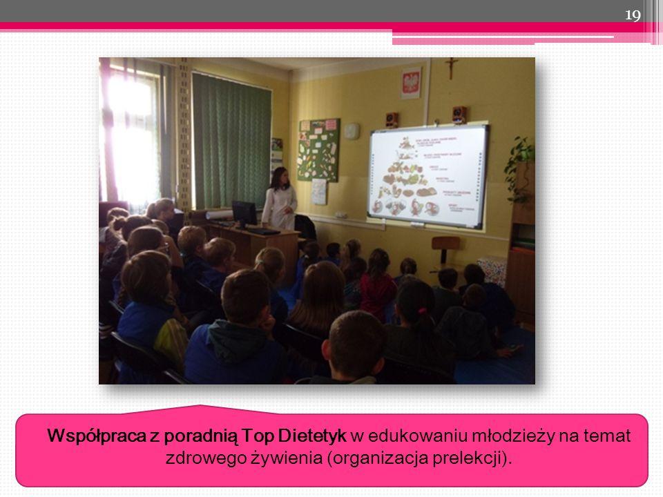 19 Współpraca z poradnią Top Dietetyk w edukowaniu młodzieży na temat zdrowego żywienia (organizacja prelekcji).