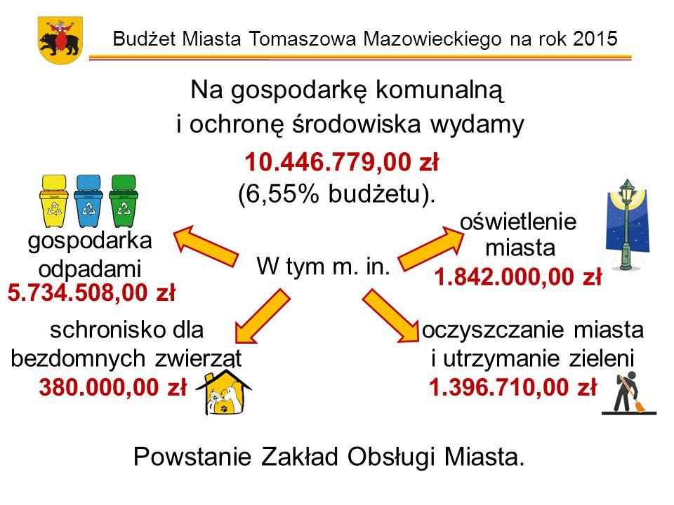 Budżet Miasta Tomaszowa Mazowieckiego na rok 2015 Na gospodarkę komunalną i ochronę środowiska wydamy 10.446.779,00 zł (6,55% budżetu).
