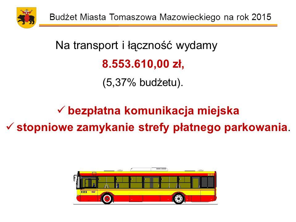 Budżet Miasta Tomaszowa Mazowieckiego na rok 2015 Na transport i łączność wydamy 8.553.610,00 zł, (5,37% budżetu).