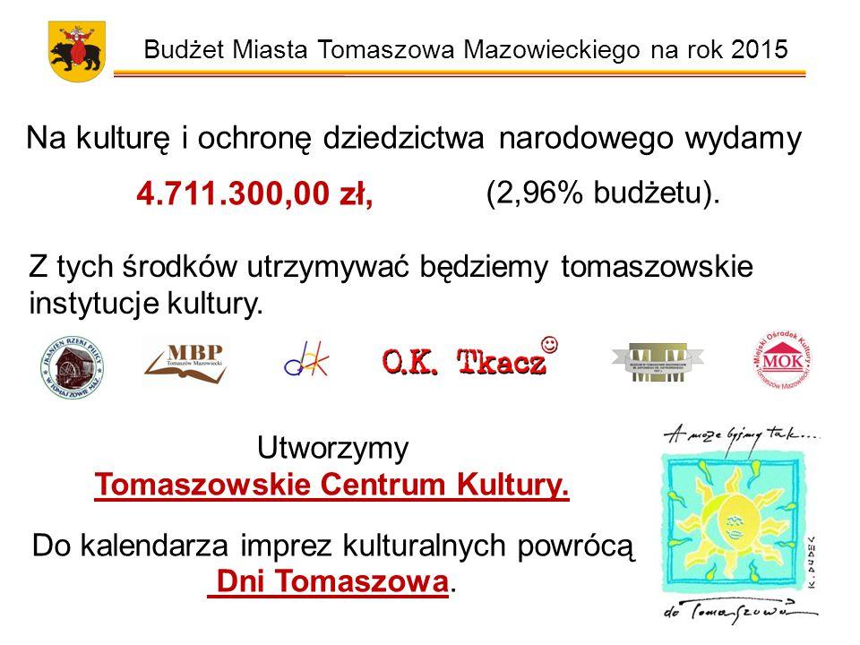 Budżet Miasta Tomaszowa Mazowieckiego na rok 2015 Na kulturę i ochronę dziedzictwa narodowego wydamy 4.711.300,00 zł, (2,96% budżetu).