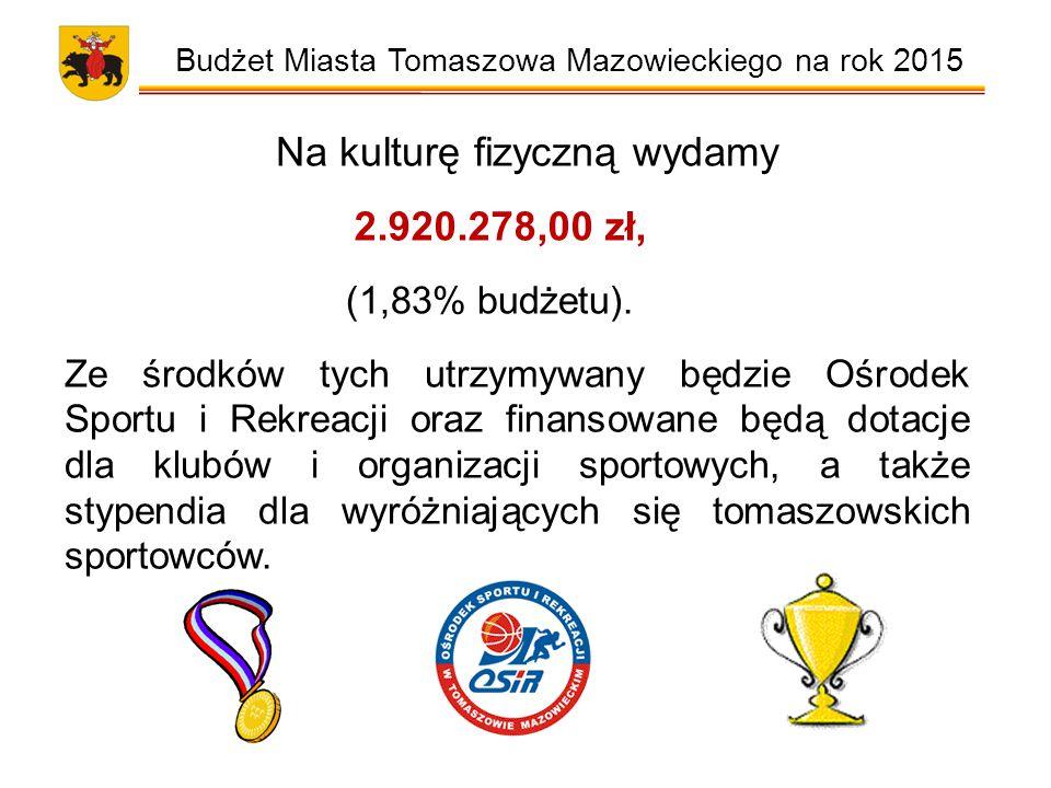 Budżet Miasta Tomaszowa Mazowieckiego na rok 2015 Na kulturę fizyczną wydamy 2.920.278,00 zł, (1,83% budżetu).