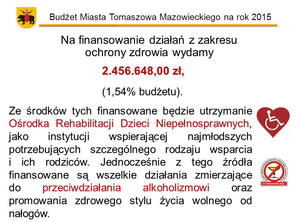 Budżet Miasta Tomaszowa Mazowieckiego na rok 2015 Na finansowanie działań z zakresu ochrony zdrowia wydamy 2.456.648,00 zł, (1,54% budżetu).
