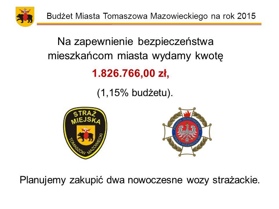 Budżet Miasta Tomaszowa Mazowieckiego na rok 2015 Na zapewnienie bezpieczeństwa mieszkańcom miasta wydamy kwotę 1.826.766,00 zł, (1,15% budżetu).