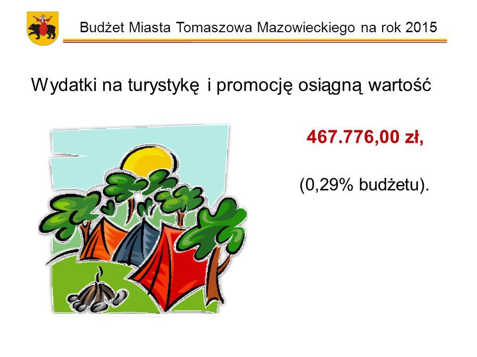 Budżet Miasta Tomaszowa Mazowieckiego na rok 2015 Wydatki na turystykę i promocję osiągną wartość 467.776,00 zł, (0,29% budżetu).