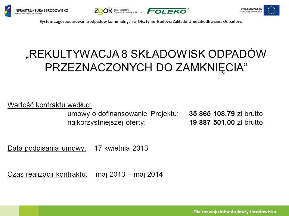 """System zagospodarowania odpadów komunalnych w Olsztynie. Budowa Zakładu Unieszkodliwiania Odpadów. Dla rozwoju infrastruktury i środowiska """"REKULTYWAC"""
