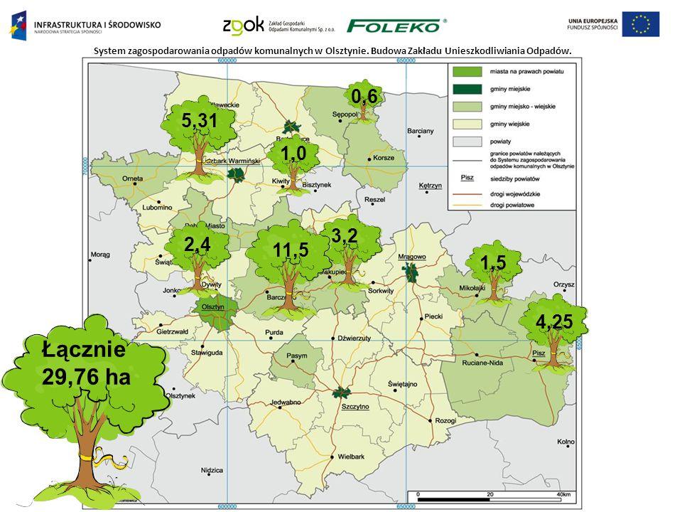 System zagospodarowania odpadów komunalnych w Olsztynie. Budowa Zakładu Unieszkodliwiania Odpadów. 0,6 1,0 1,5 2,4 3,2 4,25 5,31 11,5 Łącznie 29,76 ha