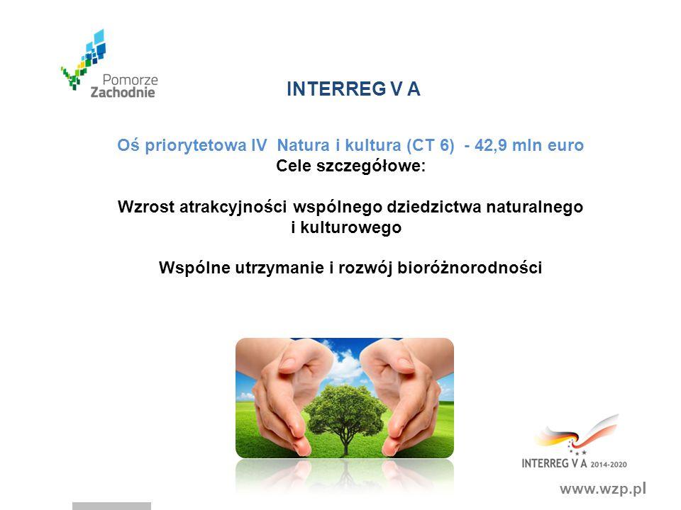 www.wzp.p l INTERREG V A Oś priorytetowa IV Natura i kultura (CT 6) - 42,9 mln euro Cele szczegółowe: Wzrost atrakcyjności wspólnego dziedzictwa naturalnego i kulturowego Wspólne utrzymanie i rozwój bioróżnorodności