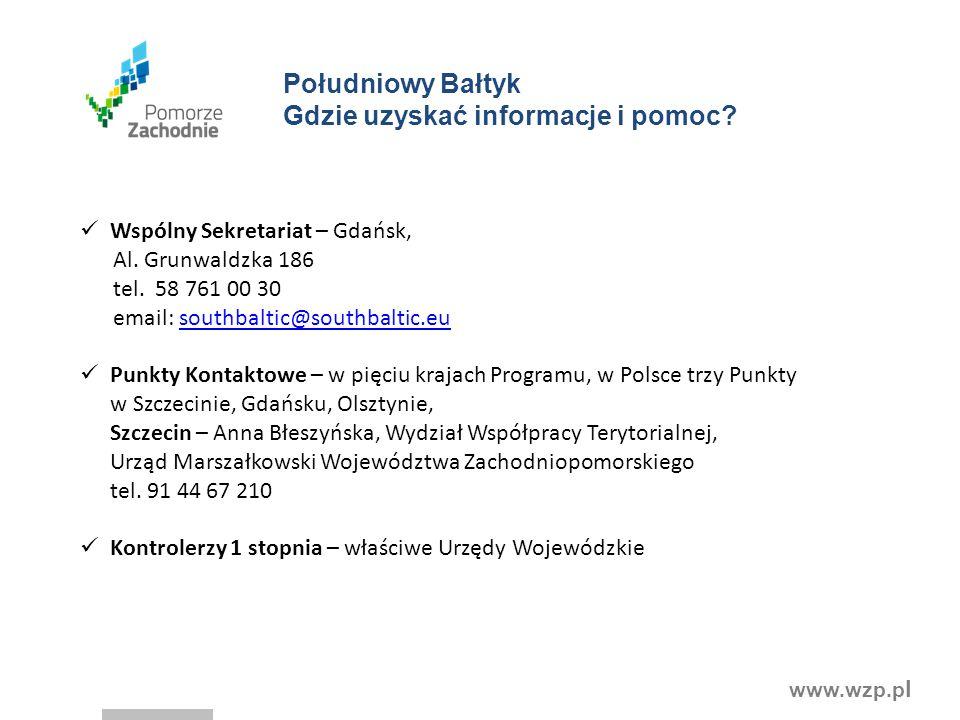 www.wzp.p l Wspólny Sekretariat – Gdańsk, Al. Grunwaldzka 186 tel. 58 761 00 30 email: southbaltic@southbaltic.eusouthbaltic@southbaltic.eu Punkty Kon