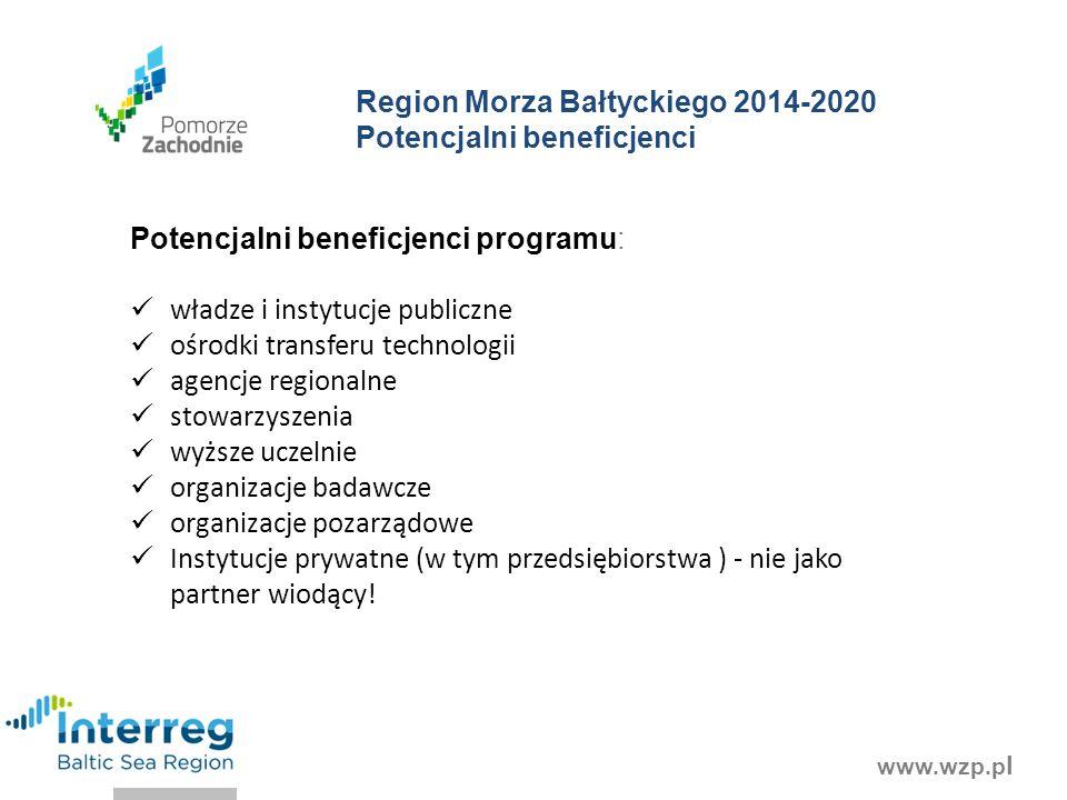 www.wzp.p l Potencjalni beneficjenci programu: władze i instytucje publiczne ośrodki transferu technologii agencje regionalne stowarzyszenia wyższe uczelnie organizacje badawcze organizacje pozarządowe Instytucje prywatne (w tym przedsiębiorstwa ) - nie jako partner wiodący.
