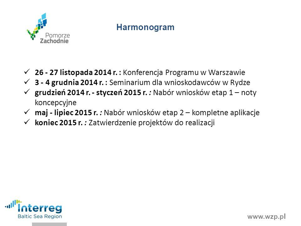 www.wzp.p l Harmonogram 26 - 27 listopada 2014 r. : Konferencja Programu w Warszawie 3 - 4 grudnia 2014 r. : Seminarium dla wnioskodawców w Rydze grud