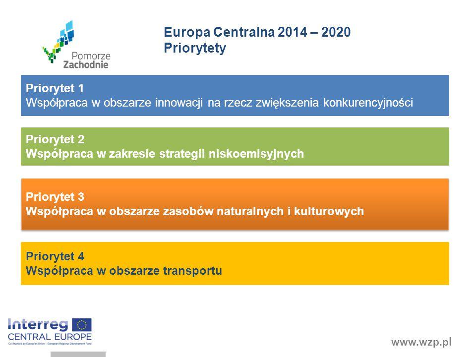 www.wzp.p l Priorytet 2 Współpraca w zakresie strategii niskoemisyjnych Priorytet 3 Współpraca w obszarze zasobów naturalnych i kulturowych Priorytet