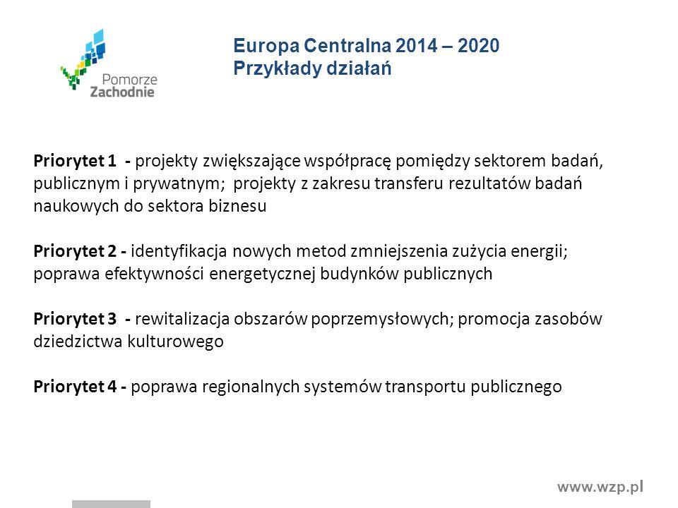 www.wzp.p l Europa Centralna 2014 – 2020 Przykłady działań Priorytet 1 - projekty zwiększające współpracę pomiędzy sektorem badań, publicznym i prywatnym; projekty z zakresu transferu rezultatów badań naukowych do sektora biznesu Priorytet 2 - identyfikacja nowych metod zmniejszenia zużycia energii; poprawa efektywności energetycznej budynków publicznych Priorytet 3 - rewitalizacja obszarów poprzemysłowych; promocja zasobów dziedzictwa kulturowego Priorytet 4 - poprawa regionalnych systemów transportu publicznego