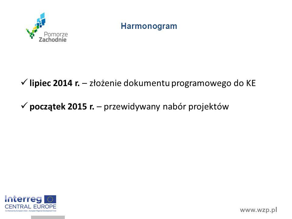 www.wzp.p l Harmonogram lipiec 2014 r. – złożenie dokumentu programowego do KE początek 2015 r. – przewidywany nabór projektów