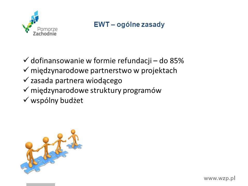www.wzp.p l dofinansowanie w formie refundacji – do 85% międzynarodowe partnerstwo w projektach zasada partnera wiodącego międzynarodowe struktury programów wspólny budżet EWT – ogólne zasady